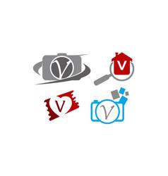 logotype v modern template set vector image