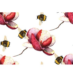 Magnolia and Bee pattern2 vector image