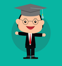 man happy graduation with black hat and glasses vector image
