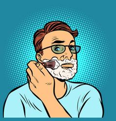 Man shaving brush hygiene morning in the vector