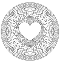 Mandala heart for Valentine day Decorative round vector