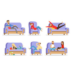 men and women relax at home on sofas vector image