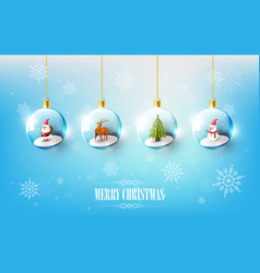 merry christmas with character in christmas ball vector image