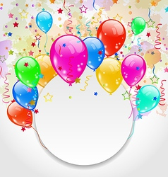 Modern birthday greeting card with set balloons vector image