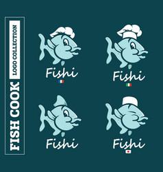 modern professional set logo emblem fish cook vector image