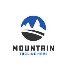 Mountain object circle logo vector