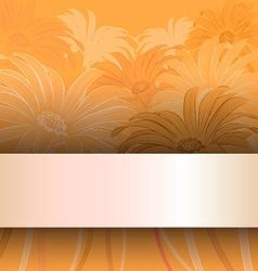 Orange floral card invitation vector