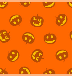 Pattern of haloween pumpkins color vector