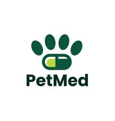 Pet medical capsule pill medicine drug logo icon vector