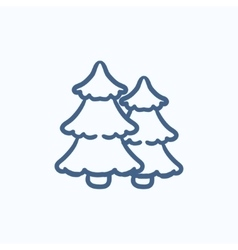 Pine trees sketch icon vector image