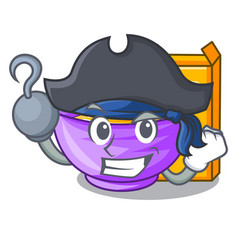 Pirate cereal box in a cartoon bowl vector