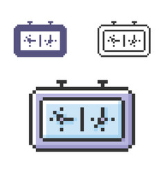 Pixel icon chess-clock in three variants fully vector