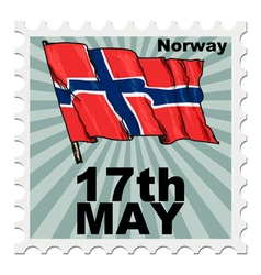 post stamp of national day of Norway vector image