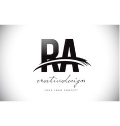 Ra r a letter logo design with swoosh and black vector