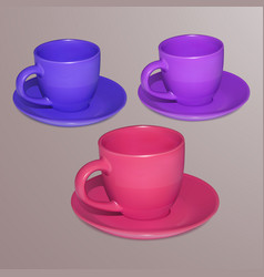 realistic bright cups isolated on white background vector image