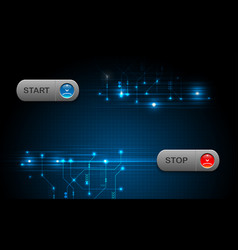 realistic start and stop button on blue abstract vector image