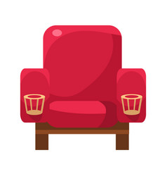 Red armchair with cup holders cinema and movie vector
