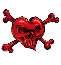 Red skull hearth on white vector
