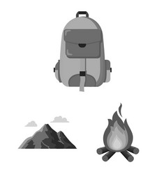 rest in the camping monochrome icons in set vector image