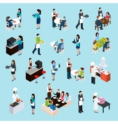Restaurant Bar People Isometric Icons Set vector