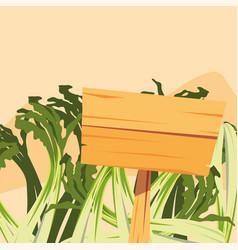 Scallion fresh vegetable farm wooden placard vector