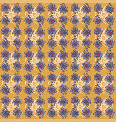 seamless pattern with flowers on orange background vector image