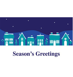 Seasons greetings graphic with houses vector