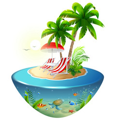 Secluded vacation on tropical island two chaise vector