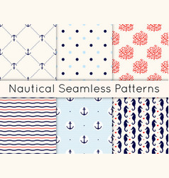 set 6 seamless nautical patterns with vector image