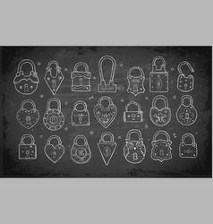 set doodle vintage locks on blackboard vector image