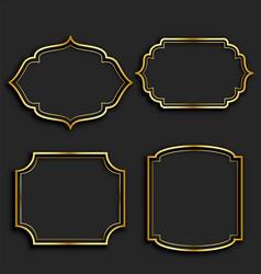 set golden vintage frame labels vector image