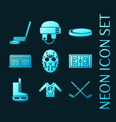 set hockey blue glowing neon icons vector image