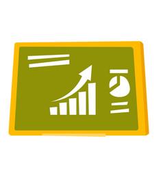 Set of charts on the green board cartoon vector