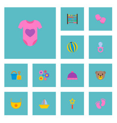 set of infant icons flat style symbols with beads vector image