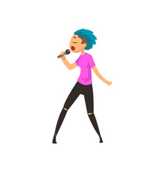 singer girl singing with microphone young man vector image