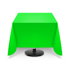 square dining table with green tablecloth and vector image