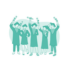 successful graduation from university concept vector image
