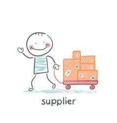 Supplier walks with a cart of goods vector