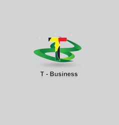 t-business logo design vector image