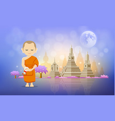 Thai monk and pagoda temple design vector