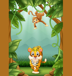 the tiger and mokey happy an activity in jungle vector image