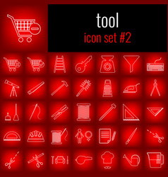 tool icon set 2 white line icon on red gradient vector image