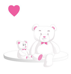 two cute white teddy bears with heart isolated vector image