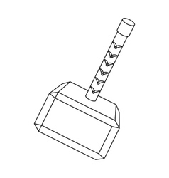 Viking battle hammer icon in outline style vector image
