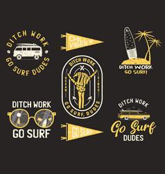 Vintage summer logos surfing badges set hand vector