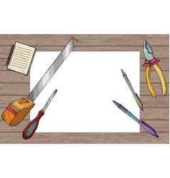 white paper sheet with pens and construction tools vector image