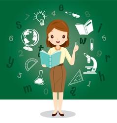 Woman Teacher With Educational Supplies Icons vector