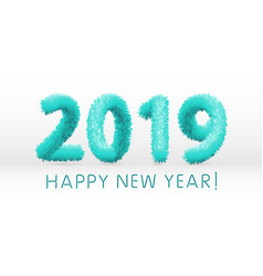 wooly blue hairy shaggy wool 2019 happy new year vector image