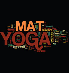 Yoga mat text background word cloud concept vector