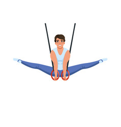 Young smiling guy doing exercises using flying vector